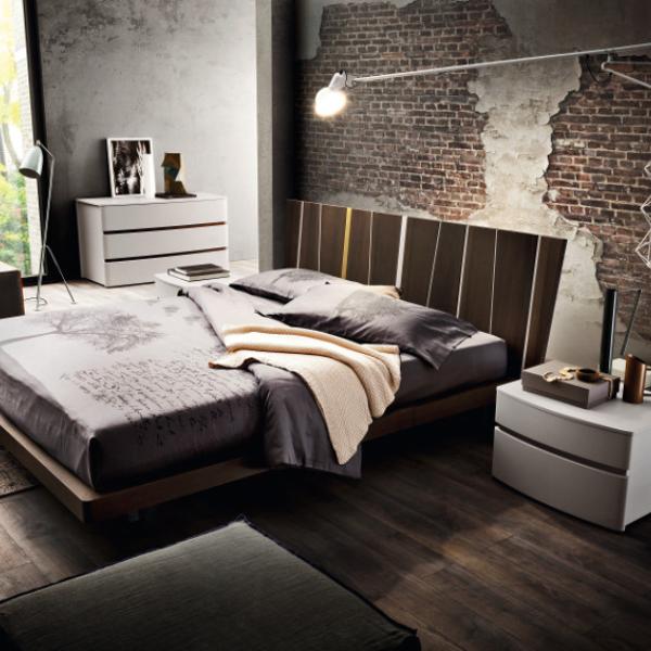 ZANETTE 'Shangai', letto in legno massiccio o frassino a poro aperto laccato